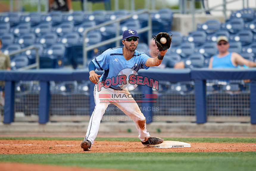 Charlotte Stone Crabs second baseman Peter Maris (3) receives a throw during a game against the Palm Beach Cardinals on April 12, 2017 at Charlotte Sports Park in Port Charlotte, Florida.  Palm Beach defeated Charlotte 8-7.  (Mike Janes/Four Seam Images)