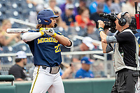 Michigan Wolverines outfielder Jordan Brewer (22) waits on deck before Game 6 of the NCAA College World Series against the Florida State Seminoles on June 17, 2019 at TD Ameritrade Park in Omaha, Nebraska. Michigan defeated Florida State 2-0. (Andrew Woolley/Four Seam Images)