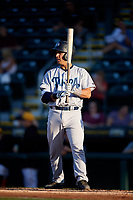 Tampa Tarpons catcher Francisco Diaz (17) at bat during a game against the Bradenton Marauders on April 25, 2018 at LECOM Park in Bradenton, Florida.  Tampa defeated Bradenton 7-3.  (Mike Janes/Four Seam Images)