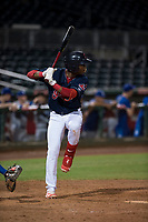 AZL Indians 2 third baseman Makesiondon Kelkboom (26) at bat during an Arizona League game against the AZL Dodgers at Goodyear Ballpark on July 12, 2018 in Goodyear, Arizona. The AZL Indians 2 defeated the AZL Dodgers 2-1. (Zachary Lucy/Four Seam Images)