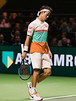 Rotterdam, The Netherlands, 12 Februari 2019, ABNAMRO World Tennis Tournament, Ahoy, first round singles: Kei Nishikori (JPN).<br /> Photo: www.tennisimages.com/Henk Koster