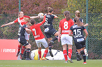 midfielder Charlotte Cranshoff (18 Standard) , defender Maurane Marinucci (7 Standard) , forward Sanne Schoenmakers (8 Standard) , defender Amber Bert (10 Zulte-Waregem) , defender Pauline Windels (5 Zulte-Waregem)  pictured during a female soccer game between Standard Femina de Liege and Dames SV Zulte Waregem on the fifth matchday of the 2020 - 2021 season of Belgian Scooore Womens Super League , saturday 17 th of October 2020  in Angleur , Belgium . PHOTO SPORTPIX.BE | SPP | STIJN AUDOOREN