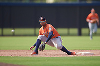 Houston Astros shortstop Miguelangel Sierra (55) stretches for a throw during a Minor League Spring Training Intrasquad game on March 28, 2019 at the FITTEAM Ballpark of the Palm Beaches in West Palm Beach, Florida.  (Mike Janes/Four Seam Images)