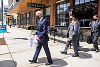 United States President Joe Biden departs after picking up tacos during a visit to Las Gemelas Restaurant  in Washington, DC, USA, 05 May 2021.United States President Joe Biden picks up tacos during a visit to Las Gemelas Restaurant  in Union Market to highlight the successes of the American Rescue Plan (ARP) in Washington, DC, USA, 05 May 2021.  Las Gemelas is a beneficiary of relief funding from the pilot program Restaurant Revitalization Fund.  ìThe ARPís Restaurant Revitalization Fund provides $28.6 billion in direct relief to restaurants and food and beverage establishments, and prioritizes restaurants that are women-owned, veteran-owned, and owned by other socially and economically disadvantaged individuals.î<br /> Credit: Jim LoScalzo / Pool via CNP/AdMedia