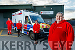 Irish Red Cross members pictured on Tuesday last, l-r: Donald Walsh, Trisha Nolan, Lloyd Abraham (driver),  Maureen Milward, Linda Murphy (Community Support).