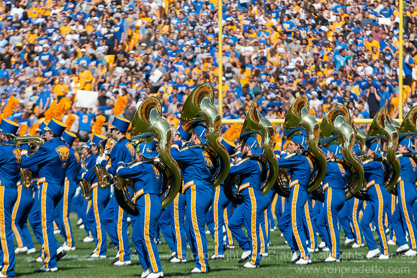The University of Pittsburgh marching band performs before the game. The Western Michigan University Broncos defeated the Pitt Panthers 44-41 at Heinz Field, Pittsburgh, Pennsylvania on September 18, 2021.