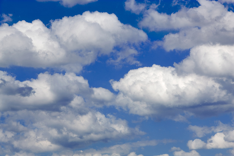 Cumulus clouds over Wilsonville, Oregon.