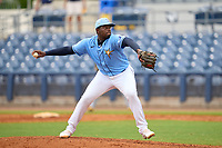 FCL Rays pitcher Juan Rivera (84) during a game against the FCL Pirates Black on August 3, 2021 at Charlotte Sports Park in Port Charlotte, Florida.  (Mike Janes/Four Seam Images)