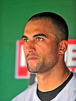 24 May 2009: Baltimore Orioles' right fielder Nick Markakis watches play from the dugout during a game against the Washington Nationals at Nationals Park in Washington, DC. The Nationals rallied to defeat the Orioles 8-5 and salvage a win in their interleague series. Mandatory Credit: Ed Wolfstein Photo