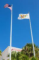 Charlotte Amalie, St. Thomas, U.S. Virgin Islands.  U.S. and Virgin Islands Flags.