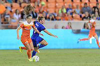 Houston, TX - Sunday Sept. 25, 2016: Andressa Machry, Manon Melis during a regular season National Women's Soccer League (NWSL) match between the Houston Dash and the Seattle Reign FC at BBVA Compass Stadium.