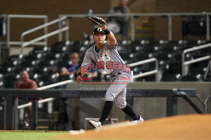 Glendale Desert Dogs first baseman Michael Busch (47), of the Los Angeles Dodgers organization, catches a throw during an Arizona Fall League game against the Salt River Rafters on October 23, 2019 at Salt River Fields at Talking Stick in Scottsdale, Arizona. Glendale defeated Salt River 6-5. (Zachary Lucy/Four Seam Images)