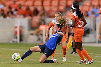 Houston, TX - Sunday June 19, 2016: Heather O'Reilly, Andressa, Chioma Ubogagu during a regular season National Women's Soccer League (NWSL) match between the Houston Dash and FC Kansas City at BBVA Compass Stadium.