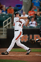 Aberdeen IronBirds Andrew Daschbach (28) bats during a NY-Penn League game against the Vermont Lake Monsters on August 19, 2019 at Leidos Field at Ripken Stadium in Aberdeen, Maryland.  Aberdeen defeated Vermont 6-2.  (Mike Janes/Four Seam Images)