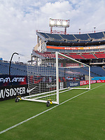 NASHVILLE, TN - SEPTEMBER 5: A Kwik Goal soccer goal sits on the field during a game between Canada and USMNT at Nissan Stadium on September 5, 2021 in Nashville, Tennessee.