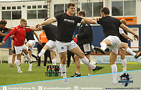 London Broncos players warm up ahead of the game during the Kingstone Press Championship match between Sheffield Eagles and London Broncos at Belle Vue, Wakefield, England on 2 April 2017. Photo by Stephen Gaunt/PRiME Media Images