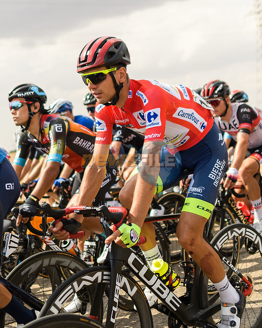 Race leader Rein Taaramäe (EST) Intermarché-Wanty-Gobert Matériaux during Stage 5 of La Vuelta d'Espana 2021, running 184.4km from Tarancón to Albacete, Spain. 18th August 2021.    <br /> Picture: Charly Lopez/Unipublic | Cyclefile<br /> <br /> All photos usage must carry mandatory copyright credit (© Cyclefile | Unipublic/Charly Lopez)