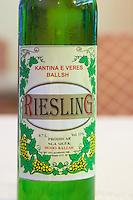 Bottle of Kantina e Veres Ballsh Riesling Hoso Ballsh. Label detail. Tirana capital. Albania, Balkan, Europe.