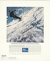 Printer's proof of Allied Chemical ad featuring skier Stein Eriksen, Benton & Bowles, 1964. Photo by John G. Zimmerman.
