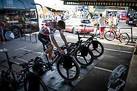 Team Trek-Segafredo warming up on their CycleOps turbo trainers ahead of the stage 1 TTT<br /> <br /> Stage 1 (TTT): Salinas de Torrevieja to Torrevieja (13.4km)<br /> La Vuelta 2019<br /> <br /> ©kramon