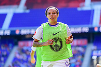 HARRISON, NJ - SEPTEMBER 29: Sydney Leroux #2 of the Orlando Pride warms up along the sidelines during a game between Orlando Pride and Sky Blue FC at Red Bull Arena on September 29, 2019 in Harrison, New Jersey.