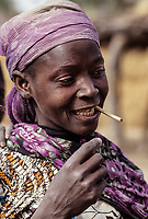 Djerma (Zarma) Woman with Chewing Stick for Cleaning Teeth, Tonkassare, Niger.