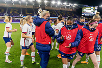 ORLANDO, FL - JANUARY 18: Jane Campbell #24 of the USWNT leaves the huddle during a game between Colombia and USWNT at Exploria Stadium on January 18, 2021 in Orlando, Florida.
