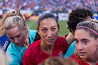 PHILADELPHIA, PA - AUGUST 29: Christen Press #23 of the United States in the huddle prior to a game between Portugal and the USWNT at Lincoln Financial Field on August 29, 2019 in Philadelphia, PA.