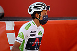 White Jersey Egan Bernal (COL) Ineos Grenadiers at sign on before the start of Stage 12 of La Vuelta d'Espana 2021, running 175km from Jaén to Córdoba, Spain. 26th August 2021.     <br /> Picture: Luis Angel Gomez/Photogomezsport   Cyclefile<br /> <br /> All photos usage must carry mandatory copyright credit (© Cyclefile   Luis Angel Gomez/Photogomezsport)