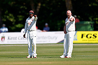 Kent captain Daniel Bell-Drummond (L) and Darren Stevens direct during Kent CCC vs Northamptonshire CCC, LV Insurance County Championship Group 3 Cricket at The Spitfire Ground on 3rd June 2021