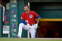 Buffalo Bisons first baseman Jason Leblebijian (26) in the dugout during a game against the Syracuse Chiefs on July 6, 2018 at Coca-Cola Field in Buffalo, New York.  Buffalo defeated Syracuse 6-4.  (Mike Janes/Four Seam Images)