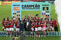 Rio de Janeiro (RJ), 24/04/2021 - Flamengo-Volta Redonda - Jogadores do Flamengo comemoram o titulo,durante partida contra o Volta Redonda,válida pela 11ª rodada da Taça Guanabara,realizada no Estádio Jornalista Mário Filho (Maracanã), na zona norte do Rio de Janeiro, neste sábado (24).