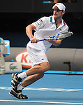 January 22, 2010T\.Andy Roddick of the USA, in action, defeating Spain's Feliciano Lopez 6-7, 6-4, 6-4, 7-6 in the third round of  The Australian Open, Melbourne Park, Melbourne, Australia.