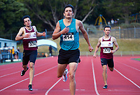 Hamish Gill wins the elite men's 400m. 2021 Capital Classic athletics at Newtown Park in Wellington, New Zealand on Saturday, 20 February 2021. Photo: Dave Lintott / lintottphoto.co.nz