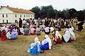 France 1989.Au camp militaire de Lastic,arrivee des immigrants kurdes irakiens.France 1989.In the military camp of Lastic, Kurdish Iraqi immigrants