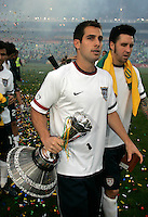 USA's captain Carlos Bocanegra with the Nelson Mandela challenge trophy after the match between the national teams of South Africa (RSA) and the United States (USA) in an international friendly dubbed the Nelson Mandela Challenge at Ellis Park Stadium in Johannesburg, South Africa on November 17, 2007.