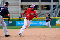 Buffalo Bisons outfielder Anthony Gose #8 runs the bases during the second game of a doubleheader against the Pawtucket Red Sox on April 25, 2013 at Coca-Cola Field in Buffalo, New York.  Buffalo defeated Pawtucket 4-0.  (Mike Janes/Four Seam Images)