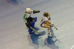 Berlin, Germany, February 10: During the FIH Indoor Hockey World Cup semi-final match between Belarus (dark blue) and Germany (white) on February 10, 2018 at Max-Schmeling-Halle in Berlin, Germany. Final score 2-3. (Photo by Dirk Markgraf / www.265-images.com) *** Local caption *** Maryna NAVITSKAYA #20 of Belarus, Marie MAEVERS #23 of Germany