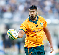 5th September 2021; Optus Stadium, Perth, Australia: Bledisloe Cup international rugby, Australia versus New Zealand; Folau Fainga'a of the Wallabies hands the ball over to Noah Lolesio of the Wallabies for the conversion after scoring a try