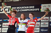 28th August 2021; Commezzadura, Trentino, Italy;  2021 Mountain Bike Cycling World Championships, Val di Sole; Cross Country, Womens Under 23,  Mona MITTERWALLNER (AUT) takes the gold medal. Laura Stigger (AUT) gets the silver and BOHÉ Caroline (DEN) left gets the bronze.