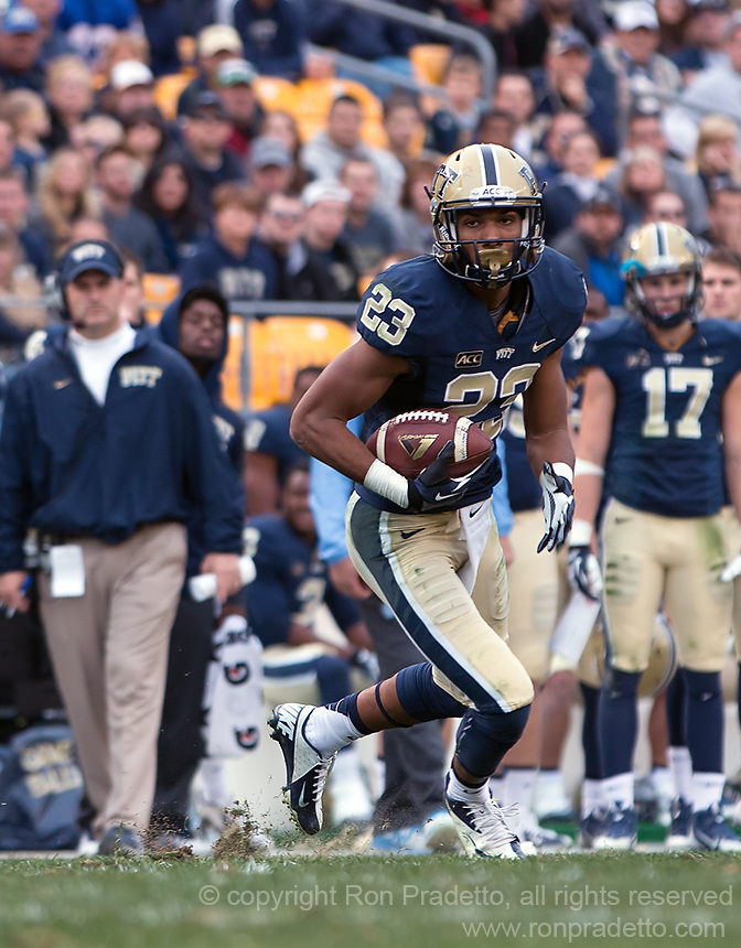 Pitt wide receiver Tyler Boyd. The North Carolina Tar Heels defeated the Pitt Panthers 34-27 at Heinz Field, Pittsburgh Pennsylvania on November 16, 2013.