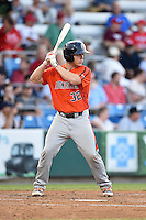 Aberdeen IronBirds catcher Alex Murphy (32) at bat during a game against the Williamsport Crosscutters on August 4, 2014 at Bowman Field in Williamsport, Pennsylvania.  Aberdeen defeated Williamsport 6-3.  (Mike Janes/Four Seam Images)