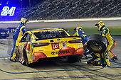 Monster Energy NASCAR Cup Series<br /> Go Bowling 400<br /> Kansas Speedway, Kansas City, KS USA<br /> Saturday 13 May 2017<br /> Kyle Busch, Joe Gibbs Racing, M&M's Red Nose Toyota Camry pit stop<br /> World Copyright: Nigel Kinrade<br /> LAT Images<br /> ref: Digital Image 17KAN1nk09912