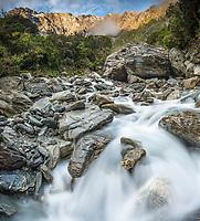 Morning at wild Tekano Creek near Douglas Rock Hut in Copland Valley, Westland Tai Poutini National Park, UNESCO World Heritage Area, West Coast, South Westland, New Zealand, NZ
