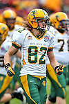 North Dakota State Bison wide receiver Zach Vraa (82) in action during the FCS Championship game between the North Dakota State Bison and the Sam Houston State Bearkats at the FC Dallas Stadium in Frisco, Texas. North Dakota defeats Sam Houston 39 to 13..