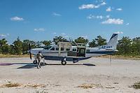 Africa, Botswana, Okavango Delta, Khwai private reserve airstrip.