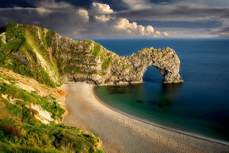 Beach and arch at  Durdle Door. Dorset. Jurassic Coast, England