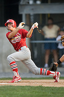 Johnson City shortstop Pete Kozma (27) follows through on his swing versus Princeton at Hunnicutt Field in Princeton, WV, Friday, August 10, 2007.