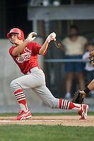 Johnson City shortstop Pete Kozma (27) follows through on his swing versus Princeton at Hunnicutt Field in Princeton, WV, Friday, August 10, 2007.