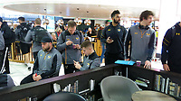 Photo: Richard Lane/Richard Lane Photography. Toulouse v Wasps.  European Rugby Champions Cup. 14/12/2018. Wasps players at Birmingham Airport ahead of board the aeroplane to Toulouse.